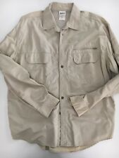 REI Mens Beige Long Sleeve Vented Fishing Hiking Shirt Size Large
