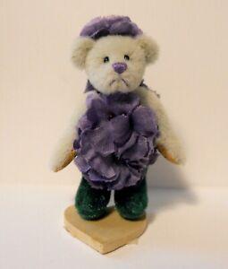 "Little Gem Miniature Teddy Bear "" VIOLET "" by LINDA MULLINS ~ Limited Edition"