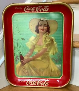 Vintage Coca-Cola Advertising Metal Serving Tray 1938 Girl In Yellow Dress