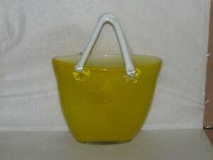 "Design Society 10"" Tall Canary yellow glass purse with White solid Handles"