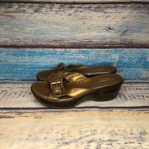 Cole Haan Air G Series Metallic Gold Brown Slide Wedge Sandals 5.5 B Vintage