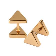 Fashion Men Women's Punk Stainless Steel Metal Geometric Triangle Stud Earrings