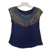 Lucky Brand Womens Size Small Sleeveless Aztec Print Pullover Navy Blue Shirt