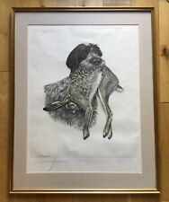Large Signed Leon Danchin Engraving Lithograph Hunting Dog Print Griffon & Hare