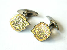 Inlay Damascene Folk Jewelry, Spain Antique Toledo Cuff Links 24K Gold