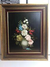 R. Rosini Signed Original Oil Painting Still Life Flower Arrangement Vase Framed