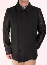 Mens Coat Jacket Wool Leather Look Sleeve Formal New Button Up Quality Collar