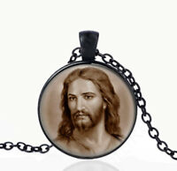 Jesus Christ Catholic Necklace. Black Pendant. Catholic Christian Pendant