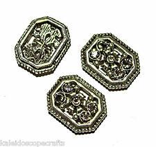 METAL SLIDER BEAD SWAROVSKI CRYSTAL BLACK DIAMOND 2 HOLE 28X14MM 12 BEADS SB9