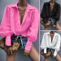 Women Buttons Down Casual Long Lantern Sleeve Shirt Tops Lapel Loose Blouse Plus