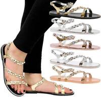 Ladies Women Gem Diamante Summer Beach Sandals Jelly Flip Flop Slider Shoes Size