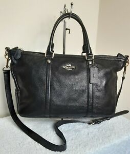 Coach Leather Ladies Black Bag Grab Shoulder Cross Body Handbag N50