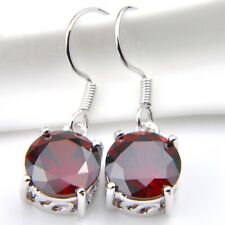 Round Natural Stone Red Fire Garnet 925 Silver Plated Dangle Hook Earrings