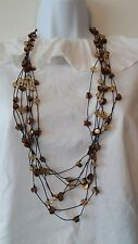 "Multi-Strand Necklace Assorted Multi-Color Brown Abalone Shell & Bead 32"" Long"