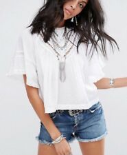 NWT Free People Lush Life Lace Inset Blouse Cut Out Top Shirt White M Semi Sheer