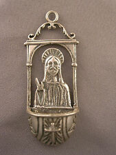 Wonderful Vintage Italian Aspa 800 Silver Jesus Miniature Holy Water Font