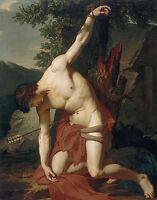 "Great Oil painting male portrait St. Sebastian killed in landscape canvas 36"""