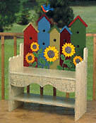 **NEW** Handmade Wood Birdhouse Bench - Indoor/Outdoor