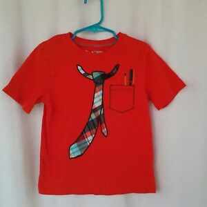 Jumping Beans boys t-shirt Size M 5 6 Orange Print tie and pocket protector