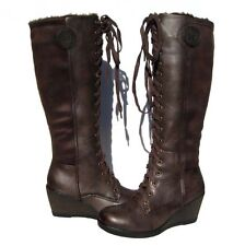 New Women's Fur Lined Boots Brown Wedge Shoes Winter Snow Ladies size 9