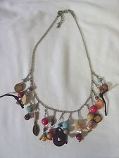 """16"""" Hanging Assorted Dangling Charm BEADED Link Silver Metal Chain Necklace NEW"""