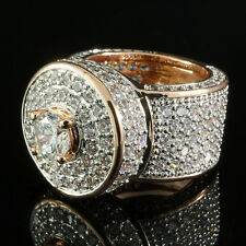 18K Rose Gold Bling Out Iced Simulated Diamond Band MICROPAVE Mens Ring NEW