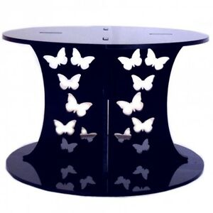 Butterfly Design Round Cake Separator - Black