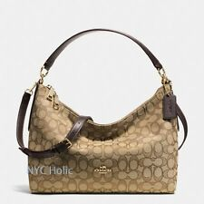 New Coach F54936 East West Celeste Convertible Hobo In Outline Signature Khaki