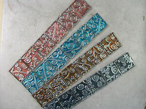 Silver Scroll Glass Mosaic Border Tiles - 4 Colours - Various Pack Sizes