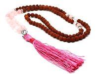Rudraksha Rose Quartz Gemstone Mala Beads Buddha Crystal Japa Rosary Yoga