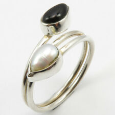 Pearl Finger Ring Sz 9.75 Solid Sterling Silver Natural Black Onyx,