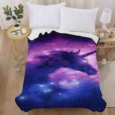 3D Starshine Purple Unicorn Velvet Plush Throw Blanket Sherpa Bedding Thin Quilt