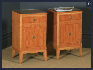 Pair of Georgian Neoclassical Style Satinwood Bedside Cabinet Tables Nightstands