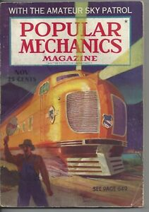 Magazine Popular Mechanics November 1936 Sky Patrol Table Tennis Railroading