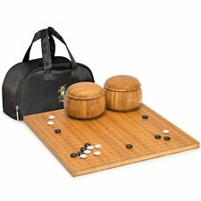 """Bamboo 0.8"""" Etched Go Board w/ Double Convex Melamine Stones and Bowls Set"""