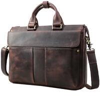 """Men's Retro Leather Messenger Shoulder Bag 15.6"""" Laptop Case Briefcase Attache"""