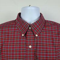 Jos A Bank Traveler Red Green Check Plaid Mens Dress Button Shirt Size Large L