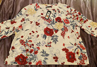 New Adult Ladies Woman Winter Summer Marks and Spencer Ivory Floral Top UK 24 -