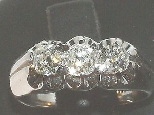 18 Carat Gold Trilogy Engagment Diamond Ring   three-stone diamond-  1.26 Carats