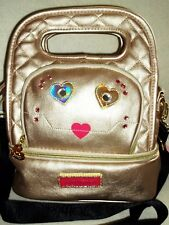NWT Betsey Johnson Kitsch Face Gold Metallic 2 Section Insulated Lunch Tote