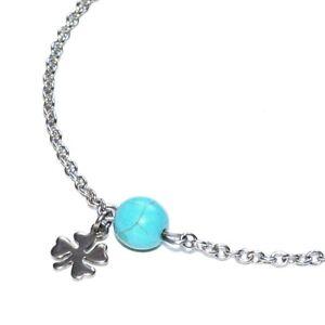 Zéeo Jewelry Chain Anklet Steel Silver Howlite Blue Charm