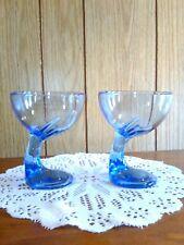 Bormioli Rocco Sapphire Blue Glass Goblets Stemware Italy Barware