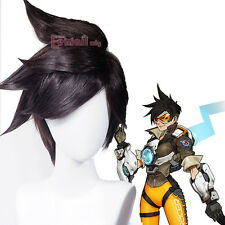 Game Overwatch Tracer Layered Side Unisex Black Styled Cosplay Full Wig