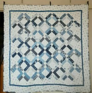 Beautiful On Point Long Arm FINISHED QUILT Handmade  Blues  68x68