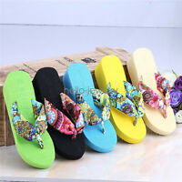 Womens Flip Flops Wedge Thong Sandals Studded strap Platform Wedge Heel Shoes AU