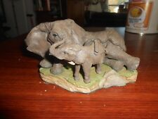 Vintage Elephant and Calf 1990 Danbury Mint Terry Jones Tender Moments