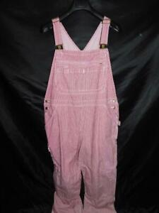Duluth Trading 2X x 31 Red White Railroad Striped Overalls Womens Straight Leg