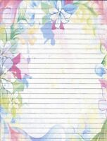 Whimsical Bordered Lined Stationery Writing Paper Set, 25 sheets & 10 envelopes