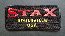 MOD SKA SCOOTER SEW ON / IRON ON PATCH:- STAX (a) SOULSVILLE USA BLACK STRIPE