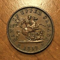 1852 Canada BANK OF UPPER CANADA One Penny Bank Token AU ↕